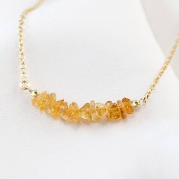 Natural Citrine Bar Necklace, November Birthstone Necklace,