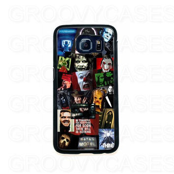 Samsung Galaxy S6 EDGE Case Rubber Horror Movie Collage