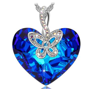 "Valentines Day Gifts Packing - ""Butterfly Love"" Made with Bermuda Blue Swarovski Crystals Heart Design Women Jewelry Pendant Necklace"