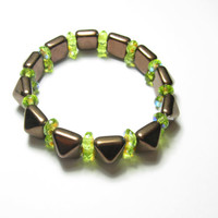 Bronze Pyramid spike stretch bracelet - nature collection