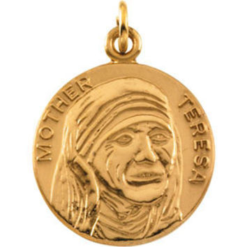14K Yellow 18mm Round Blessed Mother Teresa Medal
