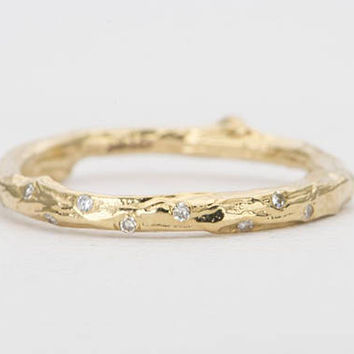 Diamond Sprinkle Twig Tree Branch Casted 14K Gold Ring Wedding Band with Diamonds AD1333