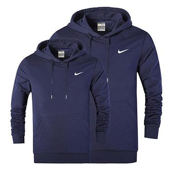NIKE 2018 autumn and winter models men and women casual long-sleeved hooded sweater F/A Dark blue
