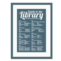 Dewey Decimal System - Art Print - Library Poster - Poster for Schools - Book Lover - Librarian Gift - Typography Poster - 12 x 18 Wall Art