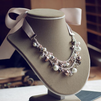 Chunky pearl bib necklace lavender ribbon by mysteryandmanners
