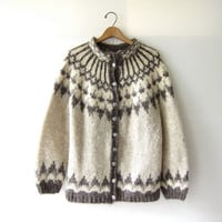 Vintage Fair Isle sweater. Icelandic cardigan sweater. wool sweater coat.