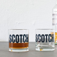 SCOTCH - hand printed rocks glasses, set of 4