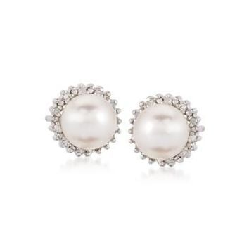 Ross-Simons - 7-7.5mm Cultured Pearl and .10 ct. t.w. Diamond Earrings in Sterling Silver - #558020