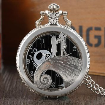Top Gifts for Huge Fans of The Nightmare Before Christmas Children Woman's Man's Necklace Quartz Pocket Watches Skull Pendant