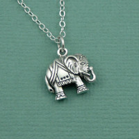 Lucky Indian Elephant Necklace - sterling silver elephant pendant jewelry - christmas gift idea