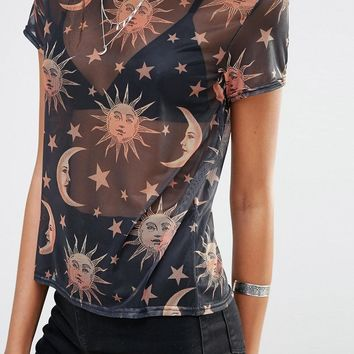 Missguided Tall | Missguided Tall Star Print Mesh T-Shirt at ASOS