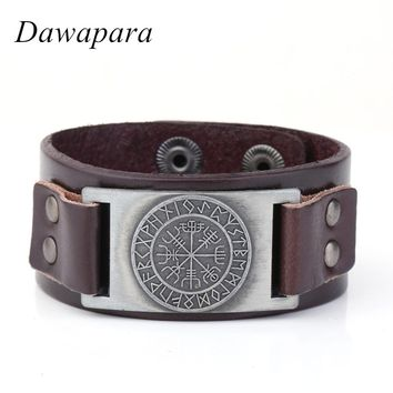*Norse Runes Viking Wristband Genuine Leather Bracelet Awe Tray Snap Jewelry for Scandinavian Fashion Cuff Bangle