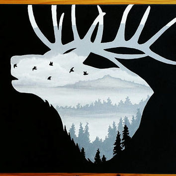 Elk silhouette painting, Hunting wall decor, Animal wall decor, Father's Day gift, Elk landscape painting, Acrylic painting on canvas