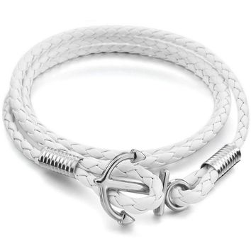 MENDINO Men's Leather Bracelet Handmade Woven Braided Anchor Warp Cord White
