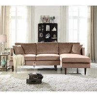 Mid-Century Modern Brush Microfiber Sectional Sofa, L-Shape Couch with Extra Wide Chaise Lounge (Hazelnut) - Walmart.com
