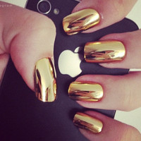 24pcs. Gold metallic nails set (10g nail glue included)