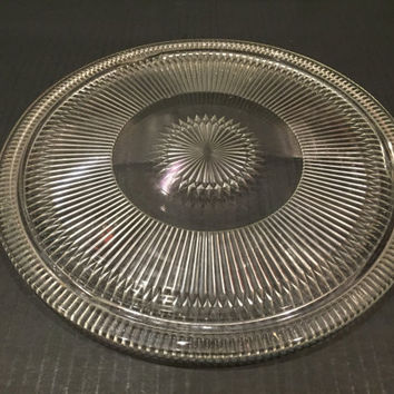 Ribbed Glass Cake Plate, Vintage Footed Glass Cake Plate