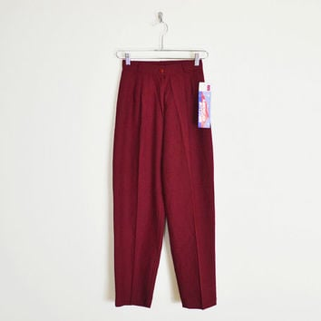 cranberry red pants, 80s high waist pants, 80s high waisted pants, skinny pants, pleated pants, trouser pants, dress pants, preppy pants xs