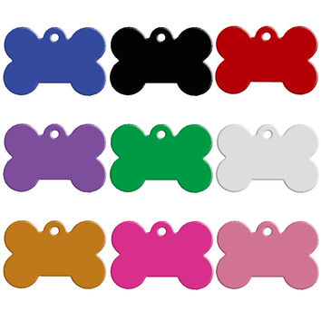100 pcs/lot Aluminum Pet ID Tag Bone Shape Double Sided Custom Engraved Dog Cat Pet Name Phone Number ID Tag Charm Personalized