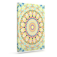 "Iris Lehnhardt ""Flourish"" Circle Yellow Outdoor Canvas Wall Art"