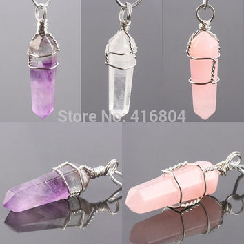 1Pc Rose/Rock Quartz Amethyst Crystal Gem Stone Healing Chakra Pendulum Pendant Charms Jewelry