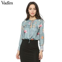 Vadim women vintage floral tie shirt bodysuit long sleeve playsuit elastic waist retro blouse fashion casual tops blusas LT1253