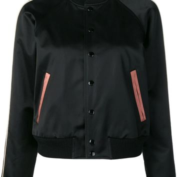 Ladies Black and Dusty Pink Bomber Jacket by Saint Laurent