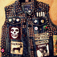 Denim punk vest