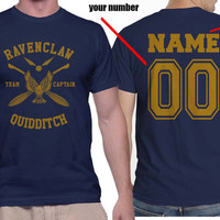 Custom Name and Number on back, Yellow ink Ravenclaw Quidditch team Captain on MEN tee