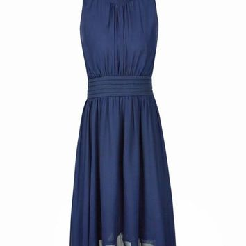 Turtle Neck Dress Ruched Navy Blue Knee Length Dress Chiffon Casual 2016 Elegant Navy Blue Dress Navy Knee Length Dress