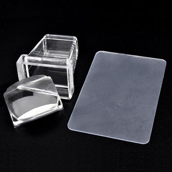 Silicone Plastic Nail Stamper Scraper Plate Image Stamping Polish Paint Set Apply to your nails or other objects Anne