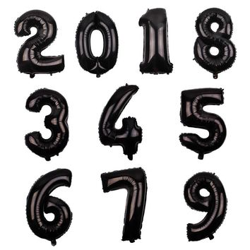 July Forest 30 inches Black Art Number Foil Balloons Digit Helium Ballons Birthday Party Wedding Decor Air Baloons Event Party