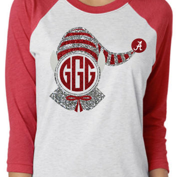 Alabama Elf Monogram Raglan Shirt -- glitter or regular - you pick colors
