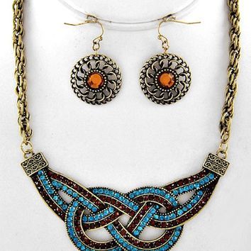 Statement One of A Kind Aqua Blue Topaz Crystal Knot Design Gold Chain Necklace Chandelier Earrings Set