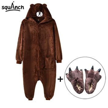 Kigurumi Brown Bear Onesuit Slippers Women Men Adult Animal Costume Cartoon Pajama Funny Festival Party Fancy Suit High Quality