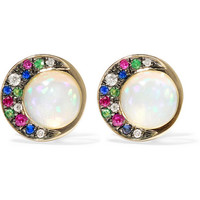 Noor Fares - Eclipse 18-karat gray gold multi-stone earrings