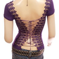 Patty Women Sexy Corset Embroidered Cap Sleeve Top Purple M