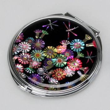 Mother of Pearl Dragonfly Flower 2x Magnification Double Compact Cosmetic Makeup Portable Folded Mini Purse Beauty Pocket Mirror