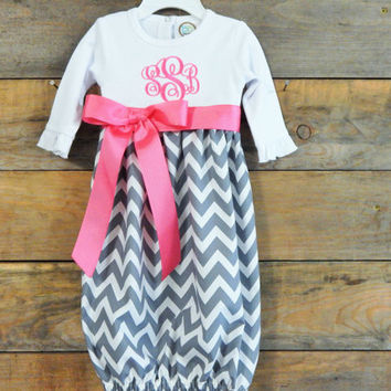Adorable BABY GOWN, Infant Gown, Newborn Gown, Going Home Outfit, Personalized Newborn Gown, Monogrammed Infant Gown, Baby Girl Gown