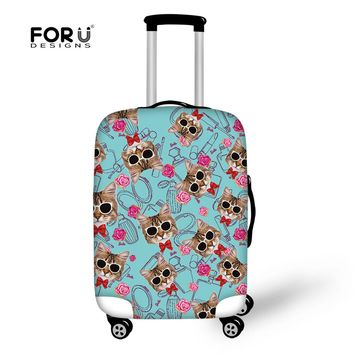 FORUDESIGNS Kawaii Cats Printed Blue Luggage Cover Protective Suitcase Cover Anti-dust Travel on Road Anti-scratch Cover Sets