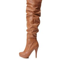 Knee-High Slouchy High Heel Boots by Charlotte Russe - Chestnut