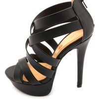 Crisscrossing Strappy Platform Heels by Charlotte Russe - Black