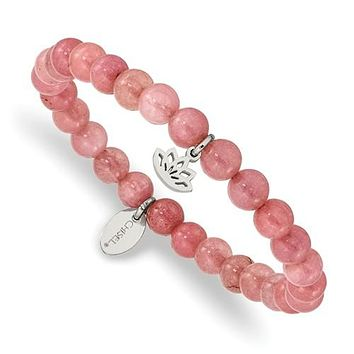 Stainless Steel Lotus Charm Pink Jade Stretch Bracelet