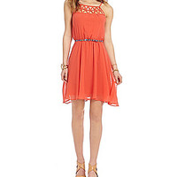 Sequin Hearts Lattice Yoke Spaghetti Strap Dress - Coral