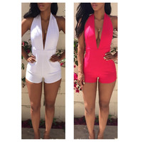 Deep V-Neck Halter High Waisted Romper