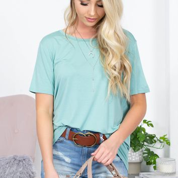 Piko Heather Round Neck Top | Turquoise