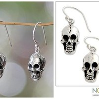 Women's Sterling Silver Dangle Earrings - Immortal Skull | NOVICA