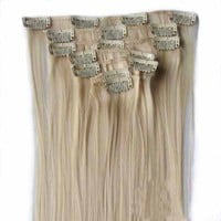 "OneDor 24"" Full Head Long Synthetic Straight Clip in on Hair Extensions 7pcs 140g (613#-pre Bleach Blonde)"