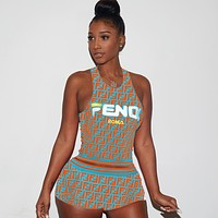 FENDI ROMA Womens Casual Fashion Top Mini Shorts Set Two-Piece