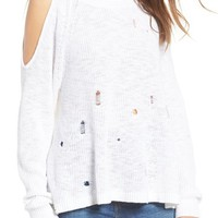 BP. Destroyed Cold Shoulder Pullover | Nordstrom